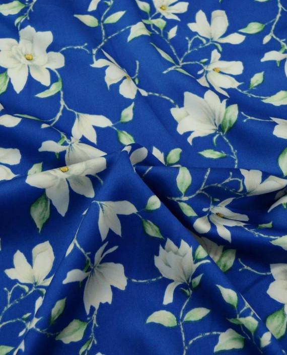 Ткань Атлас Принт 184 цвет синий цветочный картинка