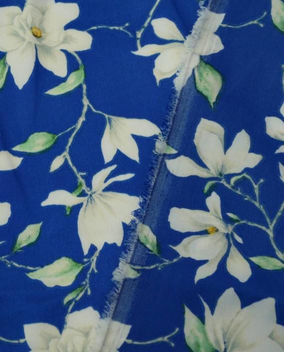 Ткань Атлас Принт 184 цвет синий цветочный картинка 1