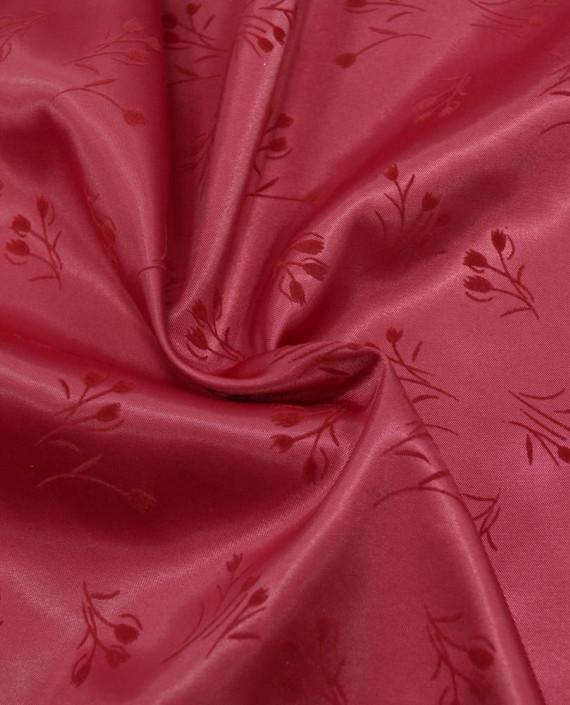 Атлас стрейч плотный 293 цвет красный цветочный картинка
