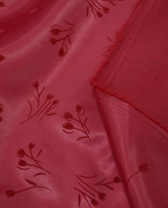 Атлас стрейч плотный 293 цвет красный цветочный картинка 2
