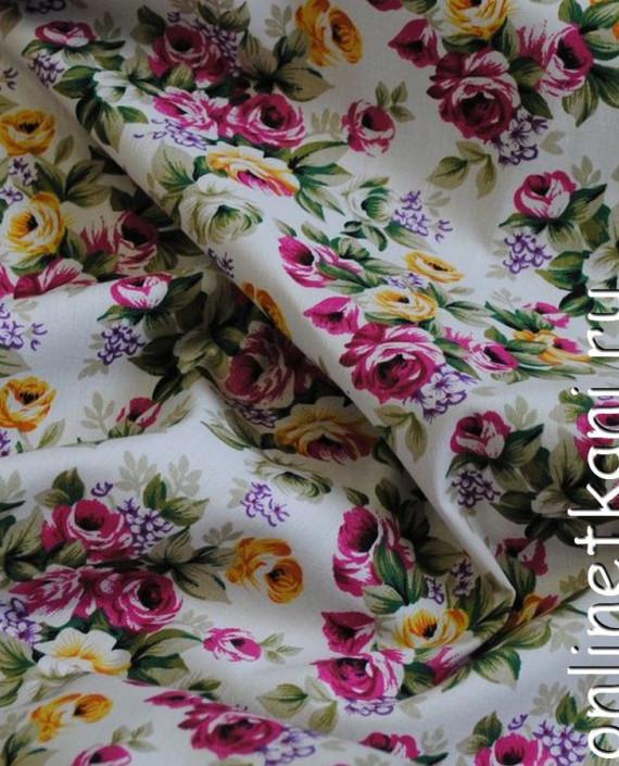 """Ткань Джинс-Стрейч """"Цветущий сад"""" 004 цвет белый цветочный картинка"""