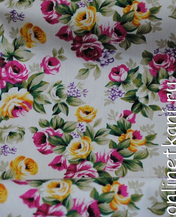 """Ткань Джинс-Стрейч """"Цветущий сад"""" 004 цвет белый цветочный картинка 1"""