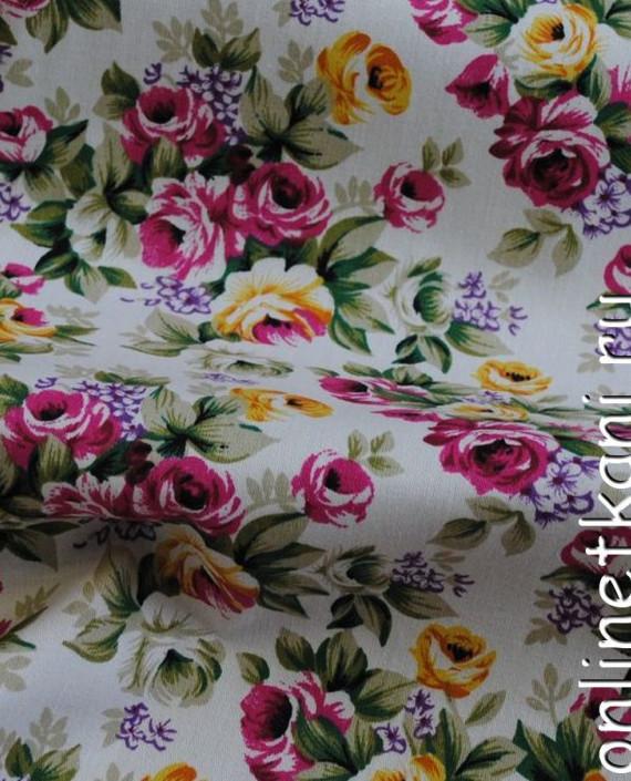 """Ткань Джинс-Стрейч """"Цветущий сад"""" 004 цвет белый цветочный картинка 2"""