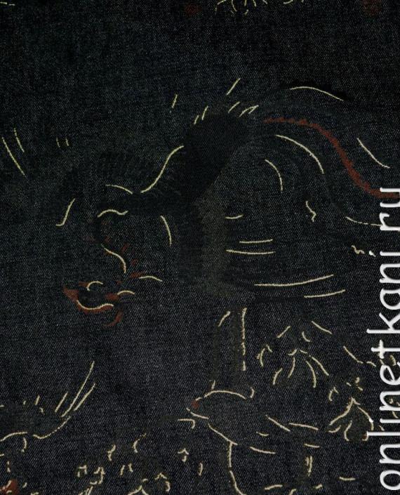 """Ткань Джинс """"Жар-Птица"""" на черном 002 цвет черный абстрактный картинка"""