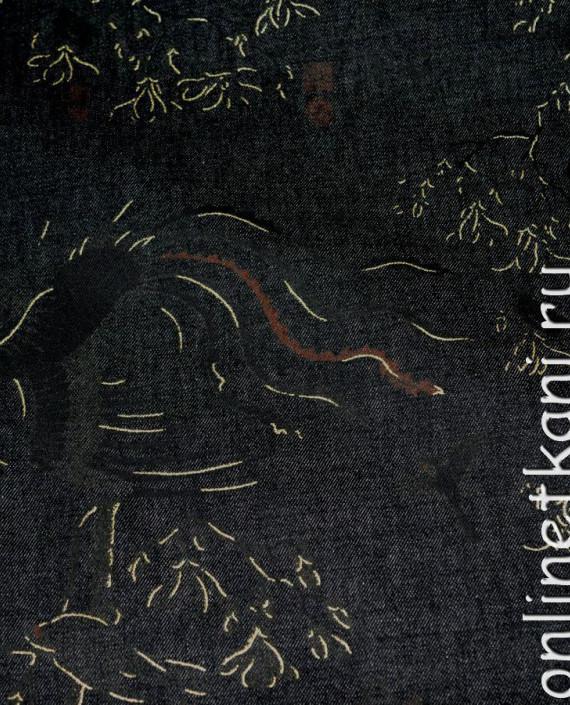 """Ткань Джинс """"Жар-Птица"""" на черном 002 цвет черный абстрактный картинка 1"""