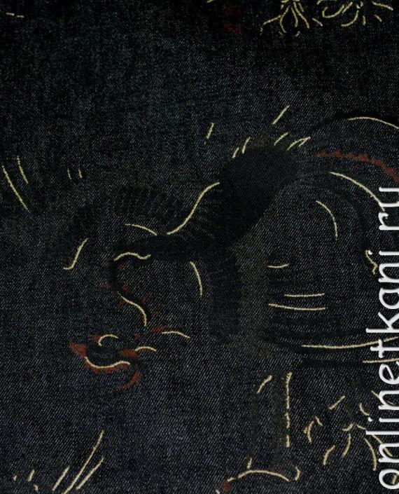 """Ткань Джинс """"Жар-Птица"""" на черном 002 цвет черный абстрактный картинка 2"""