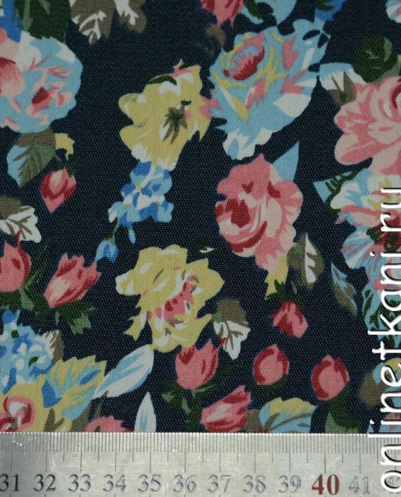 Ткань Джинс Цветочные мотивы 098 цвет разноцветный цветочный картинка 2