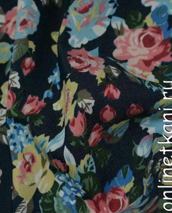 Ткань Джинс Цветочные мотивы 098 цвет разноцветный цветочный картинка