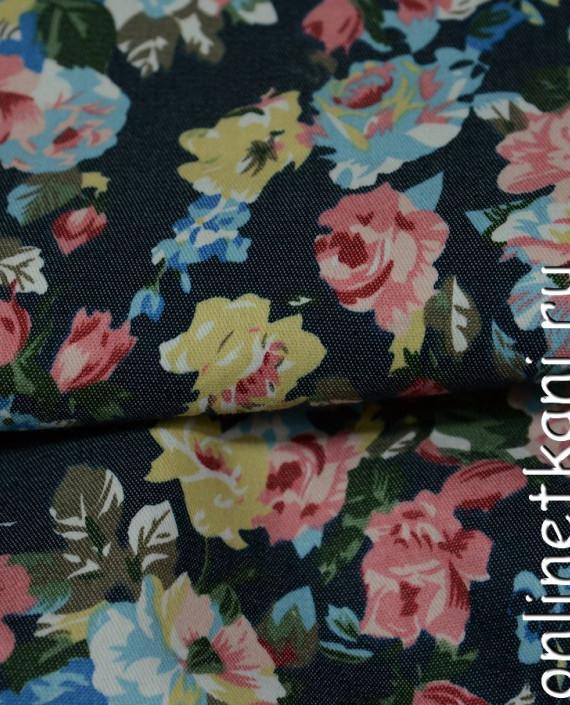 Ткань Джинс Цветочные мотивы 098 цвет разноцветный цветочный картинка 1