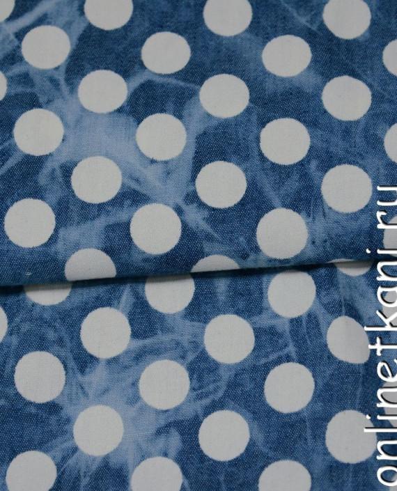 Ткань Джинс 100 цвет голубой в горошек картинка 2