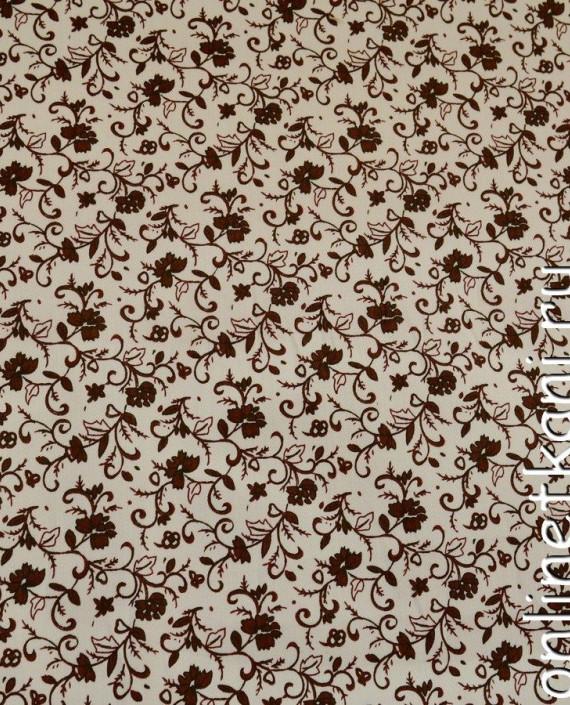 Ткань Джинс Принт 388 цвет айвори цветочный картинка