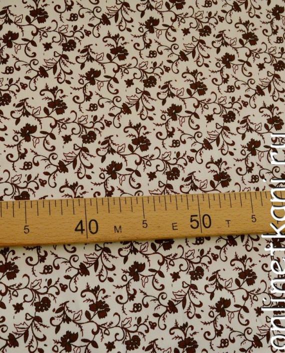 Ткань Джинс Принт 388 цвет айвори цветочный картинка 2