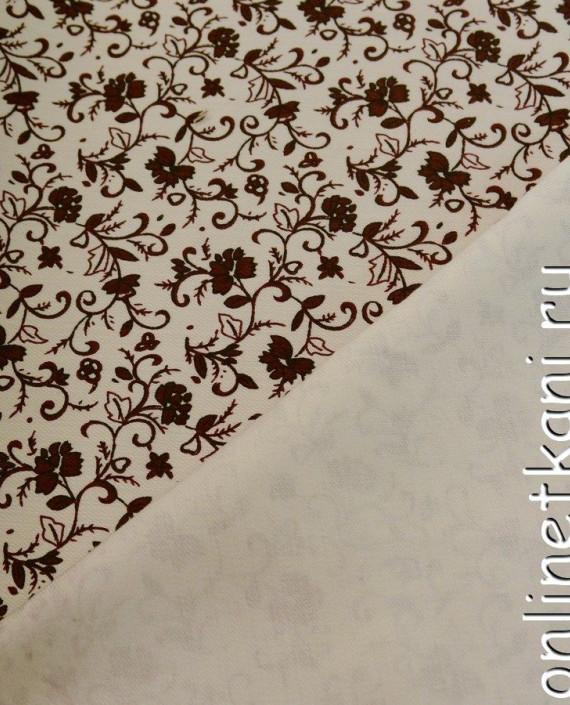 Ткань Джинс Принт 388 цвет айвори цветочный картинка 1
