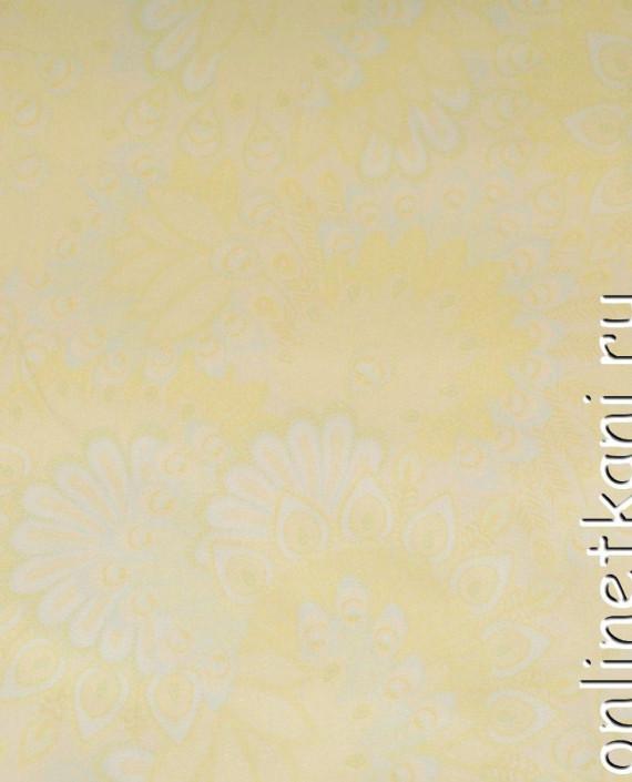 Ткань Джинс Принт 400 цвет желтый цветочный картинка