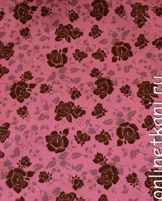 Ткань Хлопок 402 цвет розовый цветочный картинка