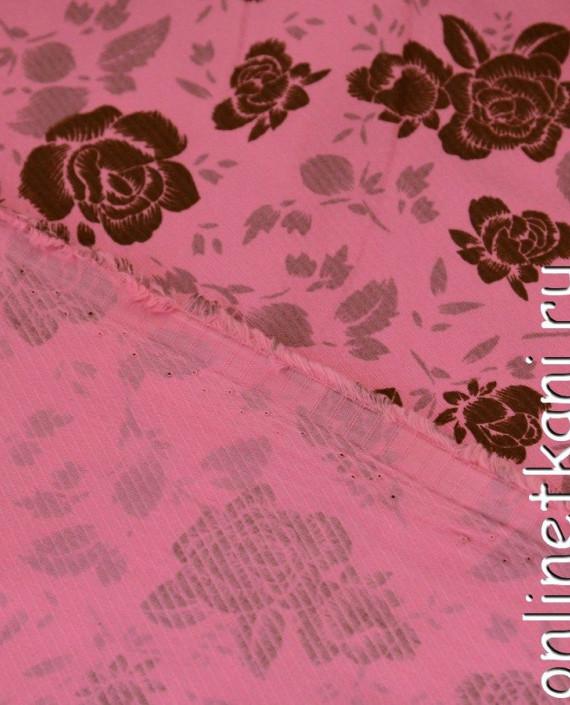 Ткань Хлопок 402 цвет розовый цветочный картинка 1