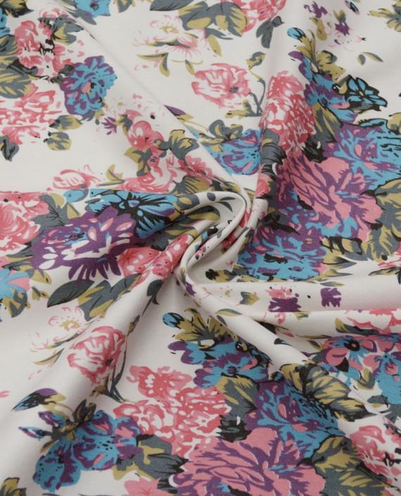Ткань Джинс Принт 584 цвет айвори цветочный картинка