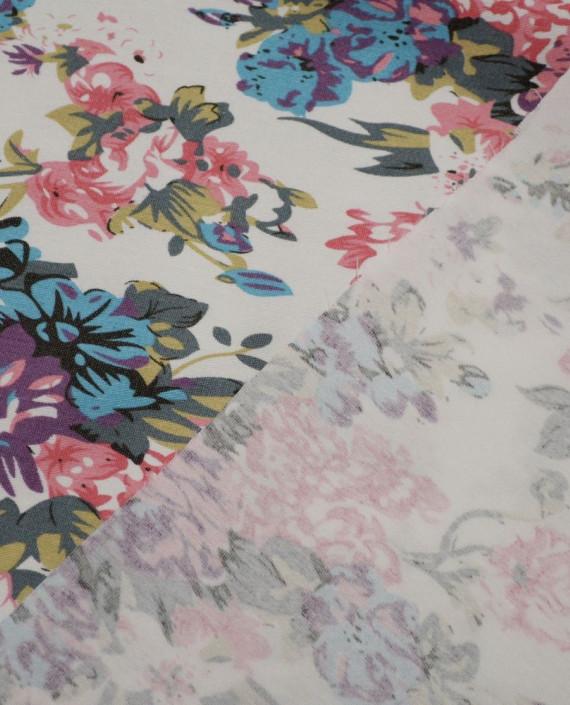 Ткань Джинс Принт 584 цвет айвори цветочный картинка 1