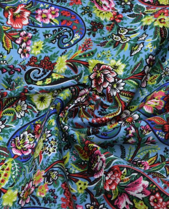 Ткань Джинс Принт 588 цвет голубой цветочный картинка