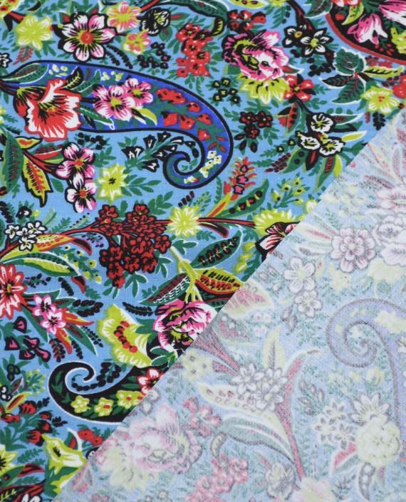 Ткань Джинс Принт 588 цвет голубой цветочный картинка 1