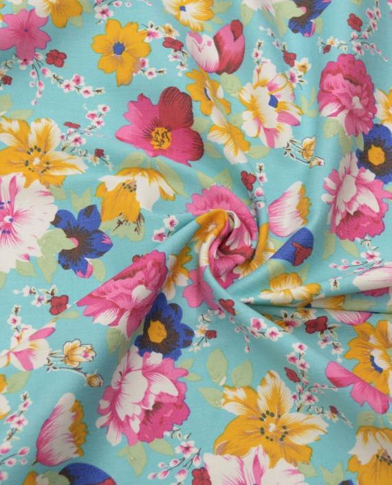 Ткань Джинс Принт 594 цвет голубой цветочный картинка