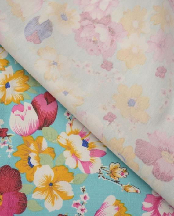 Ткань Джинс Принт 594 цвет голубой цветочный картинка 1