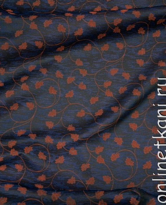 Ткань Жаккард 0008 цвет синий цветочный картинка