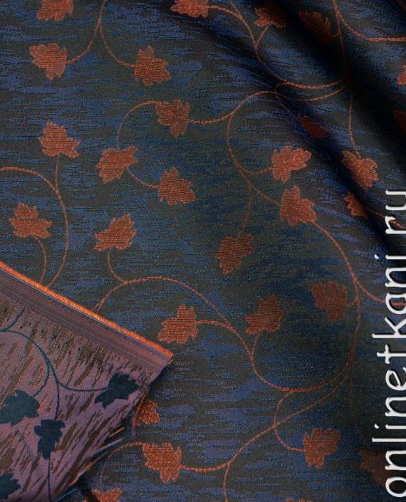 Ткань Жаккард 0008 цвет синий цветочный картинка 2