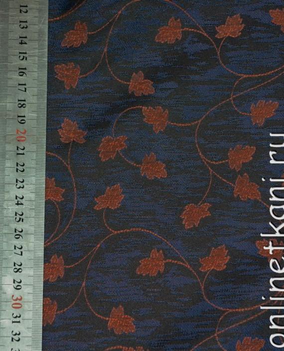Ткань Жаккард 0008 цвет синий цветочный картинка 1
