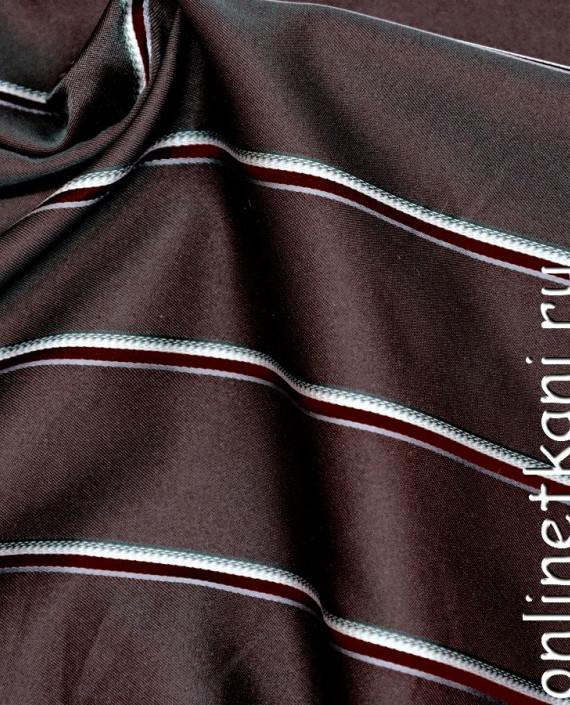 Ткань Жаккард 0027 цвет коричневый в полоску картинка 1