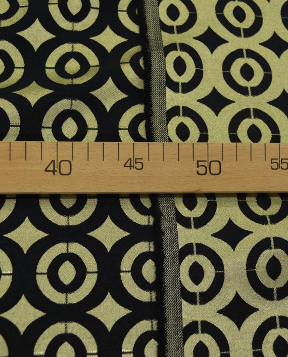 Ткань Жаккард Хлопковый 0190 цвет золотой геометрический картинка 2