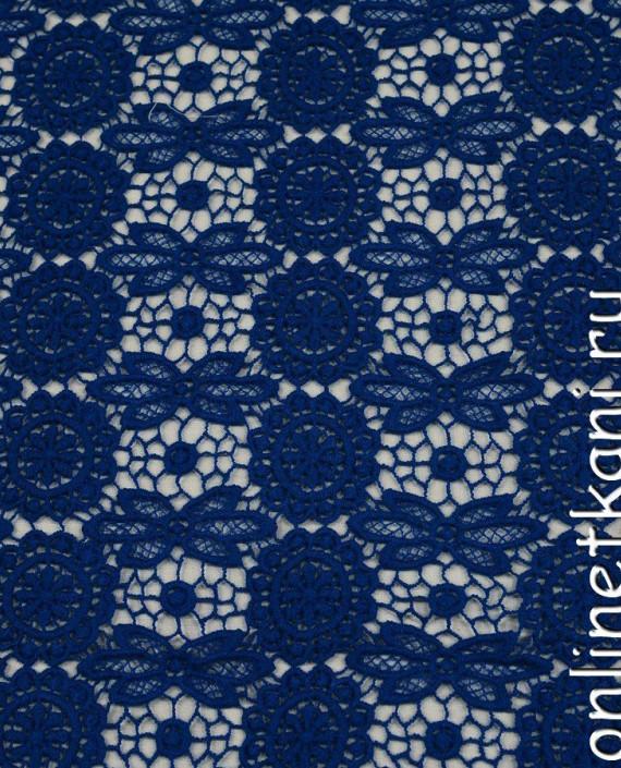 Ткань Гипюр 206 цвет синий цветочный картинка