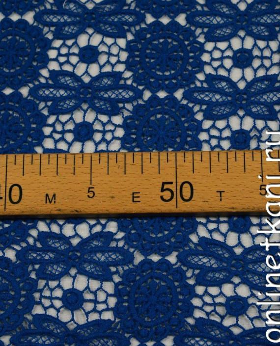 Ткань Гипюр 206 цвет синий цветочный картинка 2
