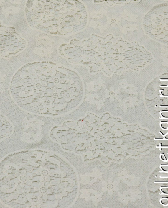 Ткань Гипюр 246 цвет белый абстрактный картинка