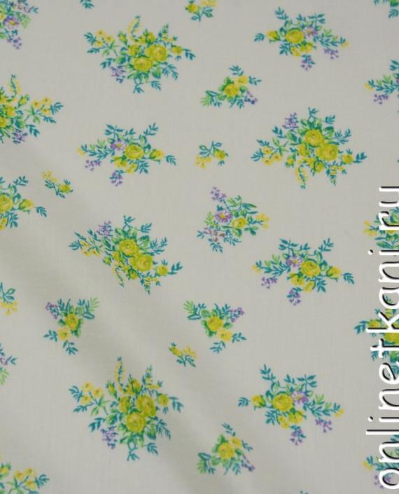 Ткань Хлопок 0615 цвет белый цветочный картинка