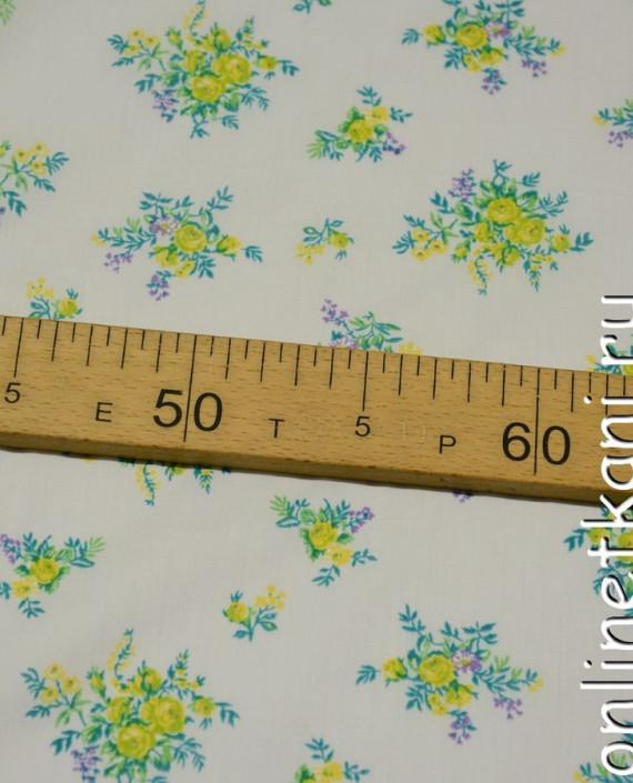 Ткань Хлопок 0615 цвет белый цветочный картинка 2