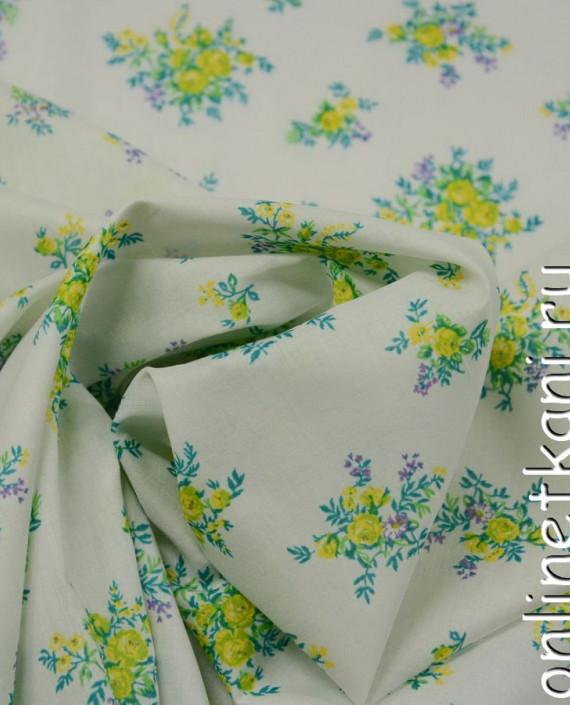Ткань Хлопок 0615 цвет белый цветочный картинка 1