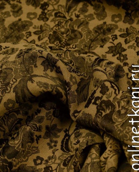 Ткань Костюмная 0879 цвет коричневый цветочный картинка 2