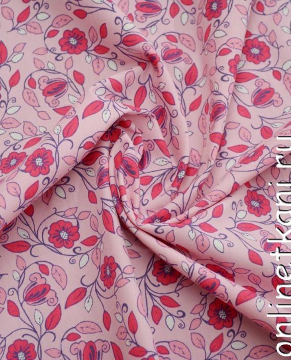 Ткань Хлопок Поплин 1083 цвет розовый цветочный картинка