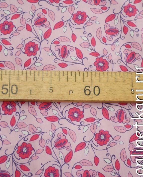 Ткань Хлопок Поплин 1083 цвет розовый цветочный картинка 2