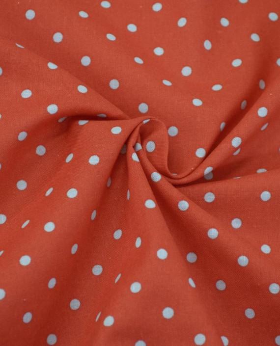 Ткань Лен Рубашечный 0719 цвет красный горохи картинка