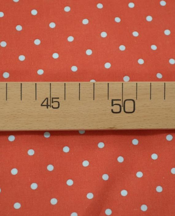 Ткань Лен Рубашечный 0719 цвет красный горохи картинка 2