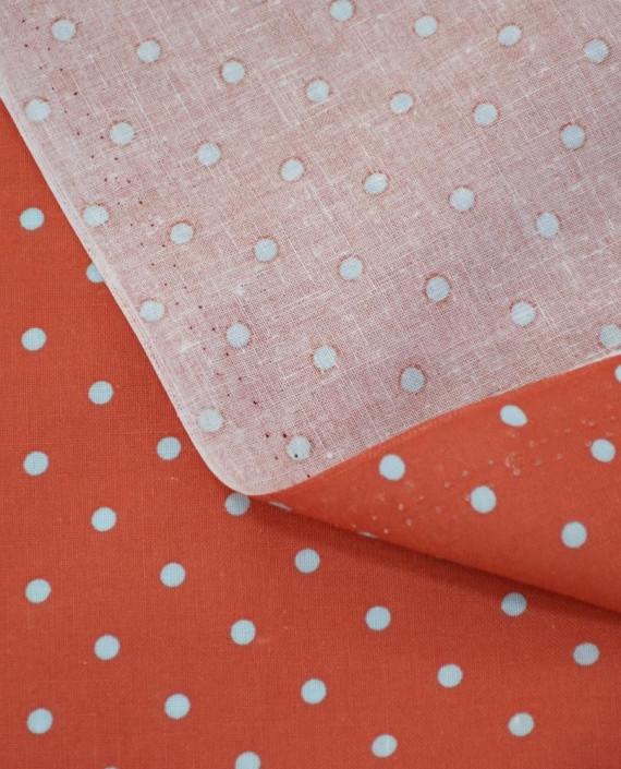 Ткань Лен Рубашечный 0719 цвет красный горохи картинка 1