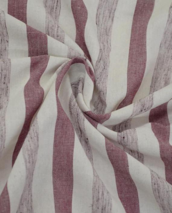 Ткань Лен Рубашечный 0722 цвет красный полоска картинка