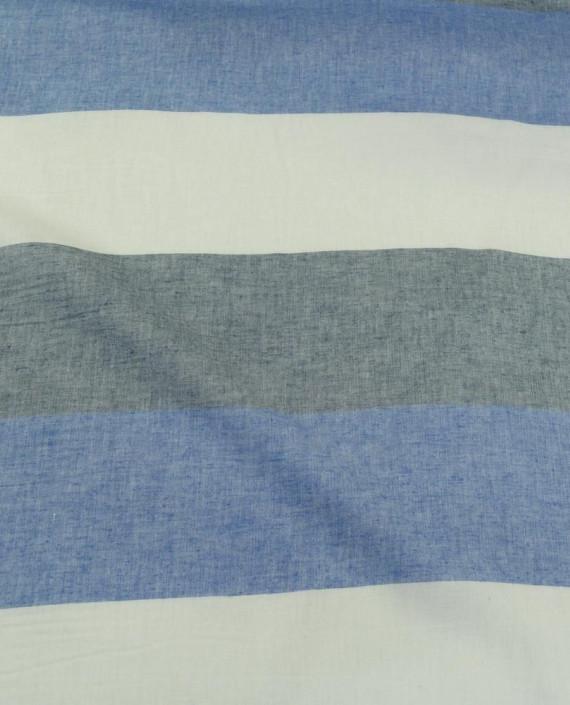 Ткань Лен Рубашечный 0724 цвет голубой полоска картинка