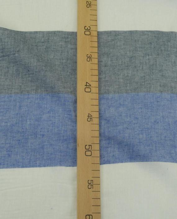 Ткань Лен Рубашечный 0724 цвет голубой полоска картинка 2