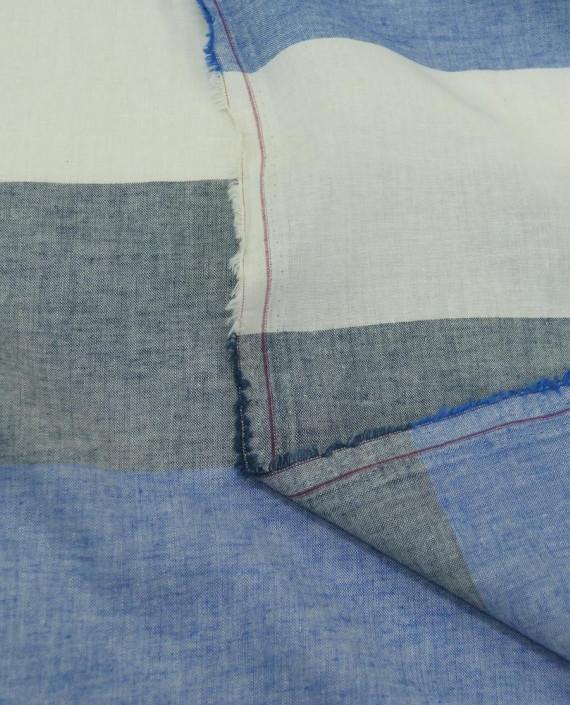 Ткань Лен Рубашечный 0724 цвет голубой полоска картинка 1