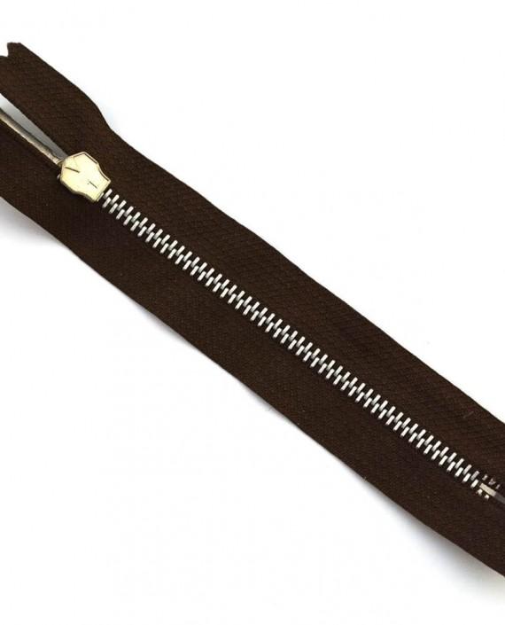 Молния 12 см металл, неразъемная 0019 цвет коричневый картинка 2