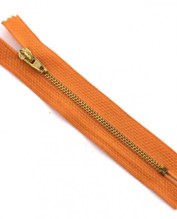 Молния 12 см металл, неразъемная 0021 цвет оранжевый картинка