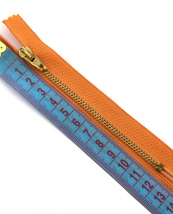 Молния 12 см металл, неразъемная 0021 цвет оранжевый картинка 1